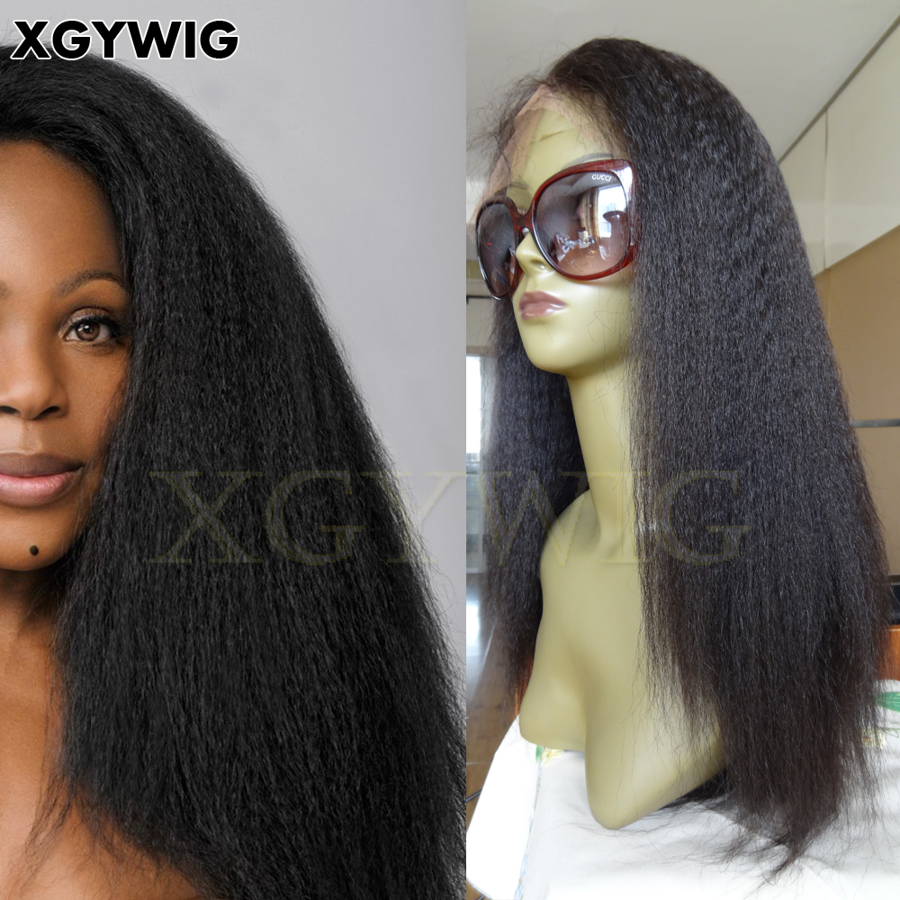 "8""-26"" Stock 100% virgin unprocessed Cuticle intact Human Hair African American Relaxed Texture Kinky Straight Full Lace Wigs"