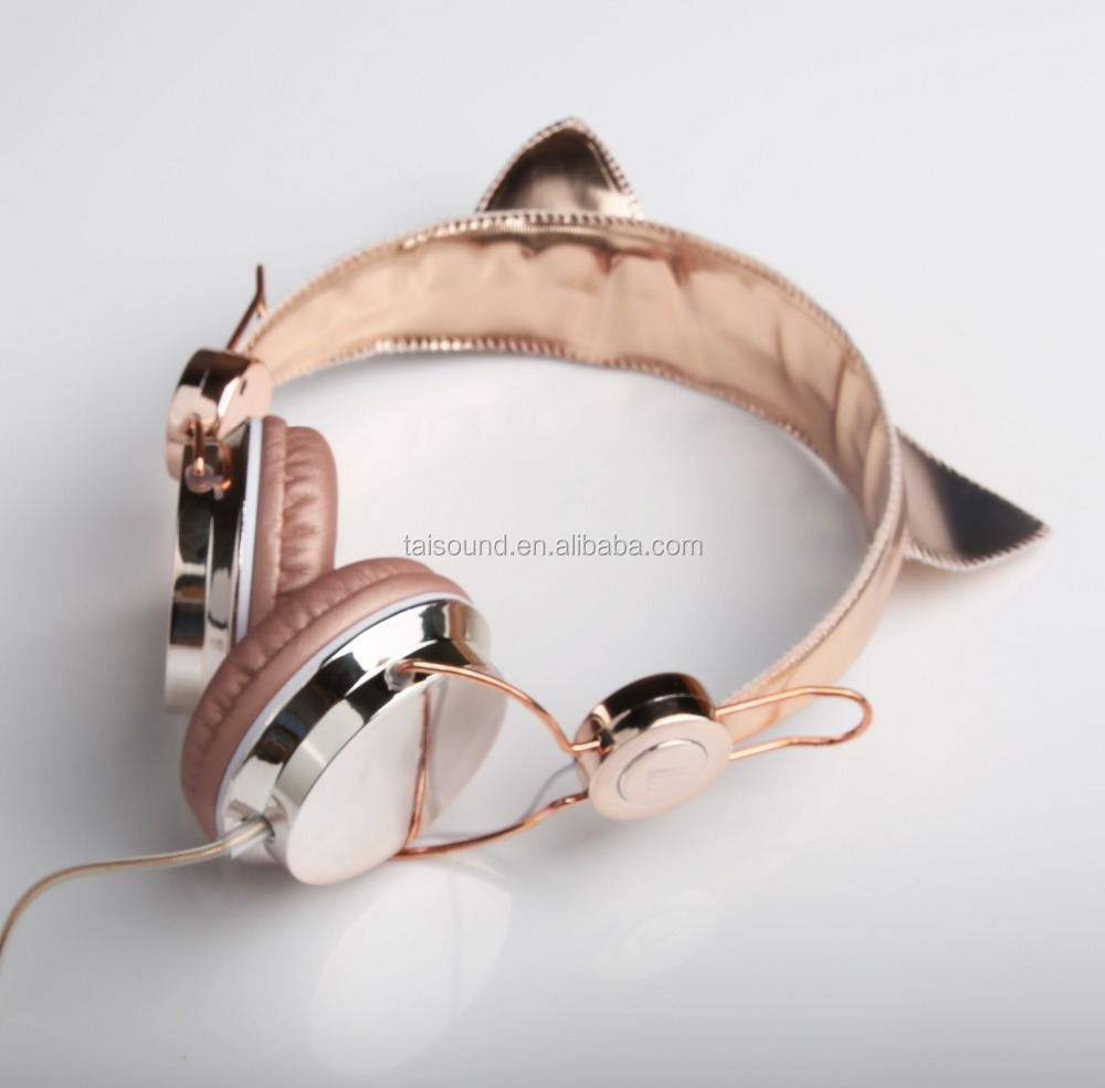 2017 fashion champagne gold head wearing cat ears high quality stereo headphones