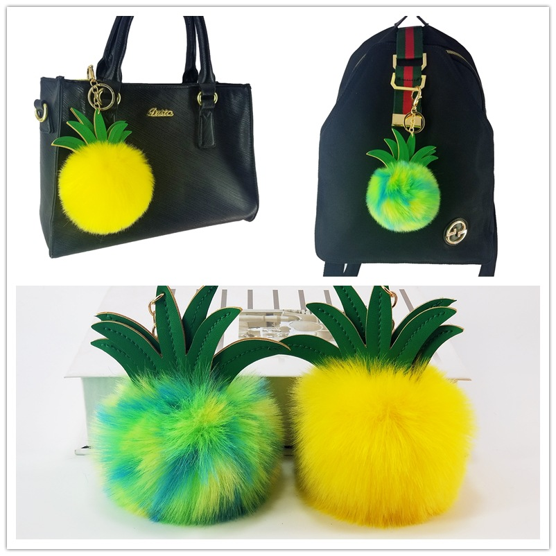 Creative Gifts Fruit Pineapple Strawberry Pompom Keychain Factory Direct