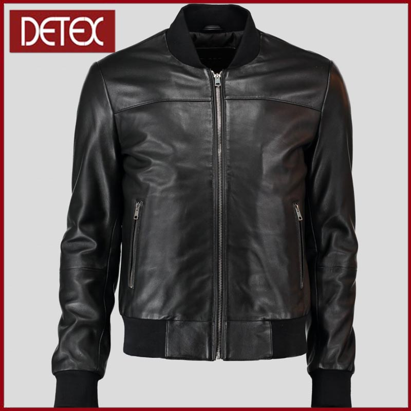 Luxury Real Sheep Skin Baseball Collar Genuine Man Leather Jacket