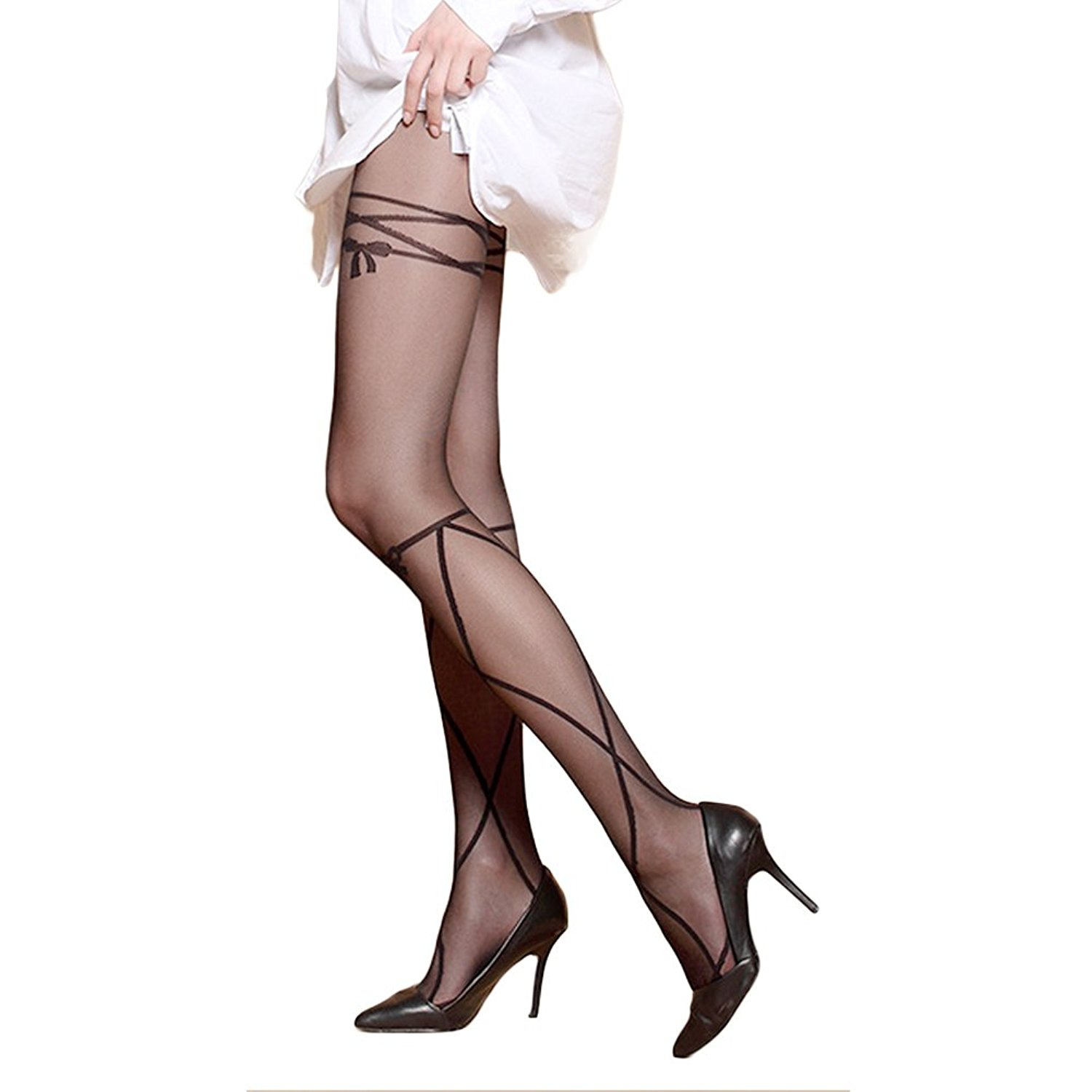bda15d3e7 Get Quotations · Blostirno Women s Sheer to Waist Floral Patterned Tights  Pantyhose Tattoo Tights