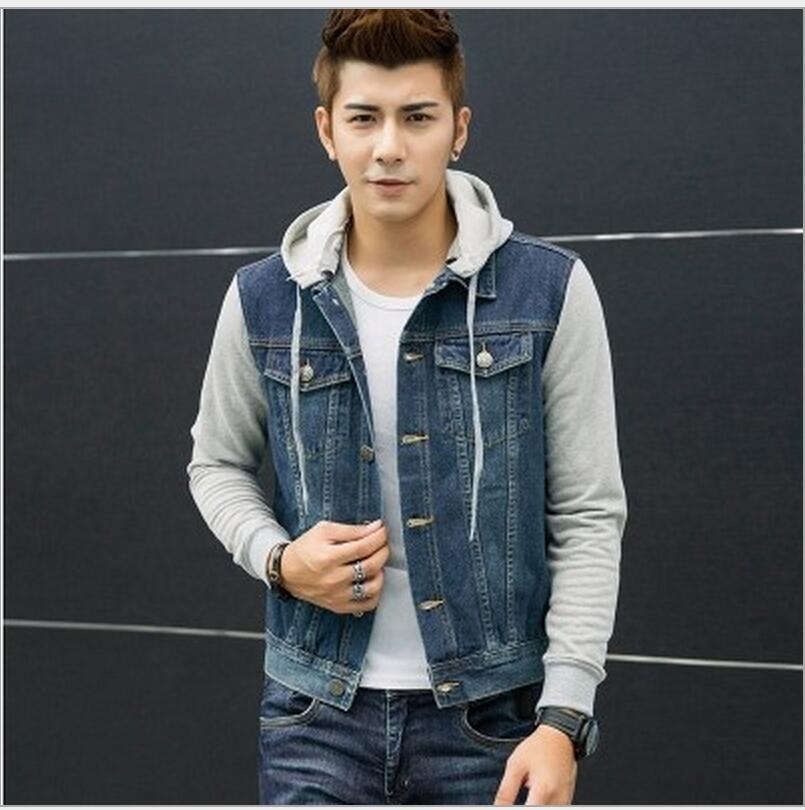 Denim vest with hoodie for men