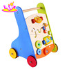 Rolling new model wooden baby walker,Baby Products Walking Trolley Toy,Wooden Educational Baby Walker W16E042