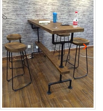 nordic vintage bois tabouret de bar en acier de haut bar. Black Bedroom Furniture Sets. Home Design Ideas