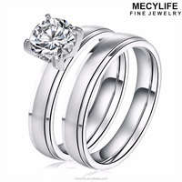MECYLIFE 316L Stainless Steel Set Ring 1 Carat Solitaire Wedding Diamond Ring