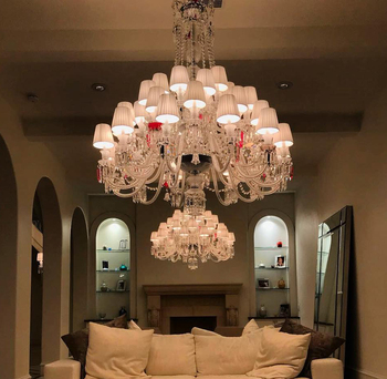 Bespoke Baccarat Style 36 Light Chandelier Luxury with Colors for A Villa in Houston U.S.A