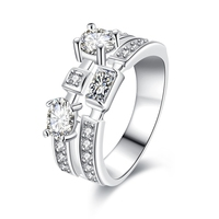 Latest Design Silver Plated Rings Jewelry Exquisite Personalized Luxury Double Row CZ Diamonds Ring Female Wedding Rings