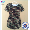 Yihao 2017 New Women Summer Short Sleeve Sexy longline Camouflage Print t shirt