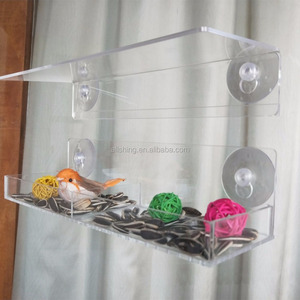 Wholesale 2018 New Design Acrylic Window Bird Feeder Height Can Adjustable With Four Suction Cups DIY Your Own Bird Feeder