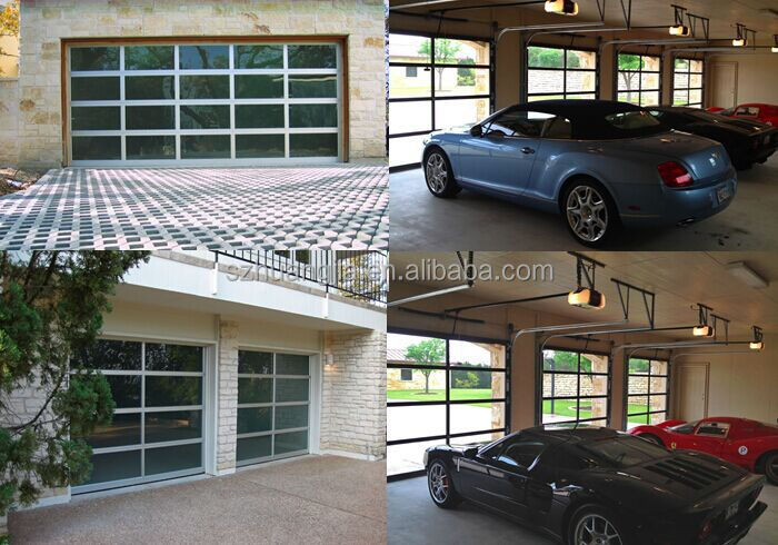 electric powder coated aluminum alloy frame glass screen panels sliding garage door lowes