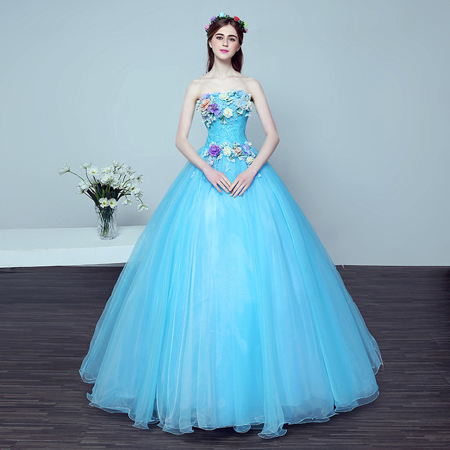 2018 New Korean Style Beaded Flower Purple Colored Wedding Dress Light Blue Princess Gowns