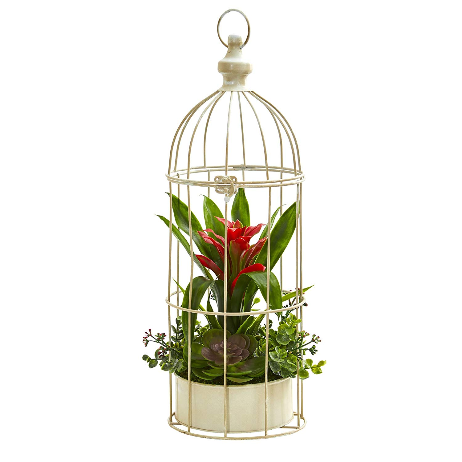 Nearly Natural 1678-RD 19 in. Bromeliad & Succulent Artificial Bird Cage Silk Arrangements, Red