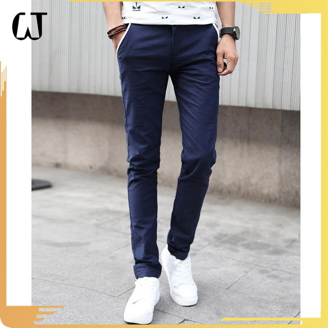M15# 2017 New Arrivals Cotton Elastic Casual Trousers Slim Fit Men's Chino Trouser Pants Stocks