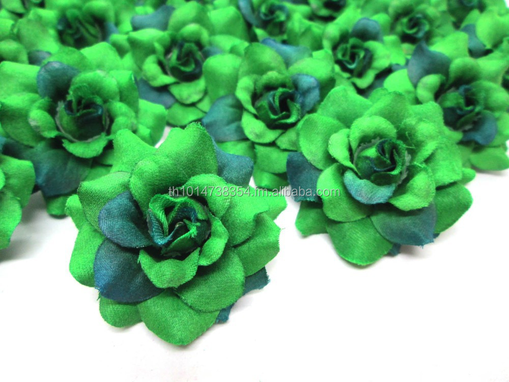 High Quality Artificial Silk Flowers Two Tone Green Rose Heads For