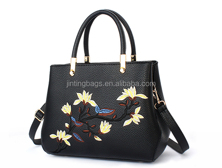 Latest fashion 2017 PU leather women bag tote handbag with beautiful embroidery flower