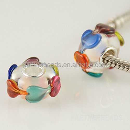 murano lampwork european beads with big hole S925 core beads fit sterling sliver beads bracelets GJ1610