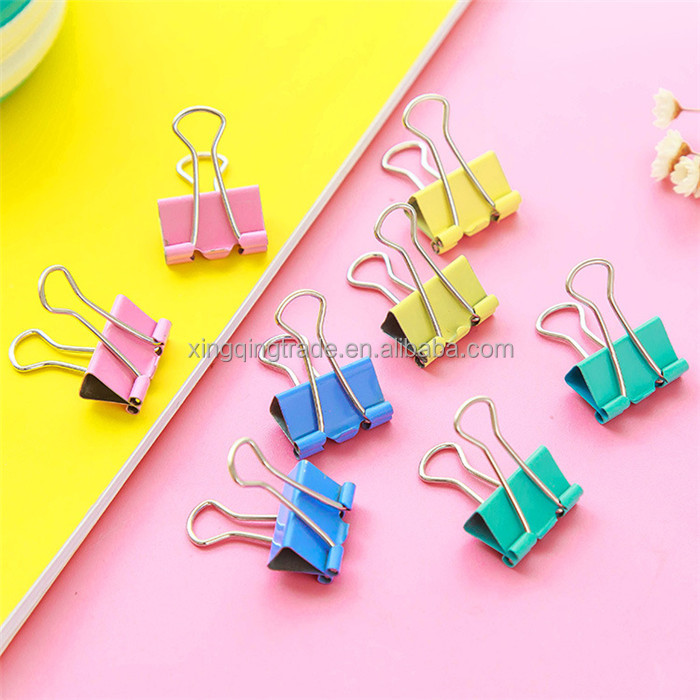 10pcs/set Small Size Printed Metal Binder Clip Paper Clip Clamp Office School Binding Supplies