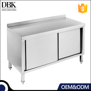 OEM Hot sales Commercial Restaurant Kitchen designs Stainless steel Bench Cabinet With Sliding Doors & Splashback