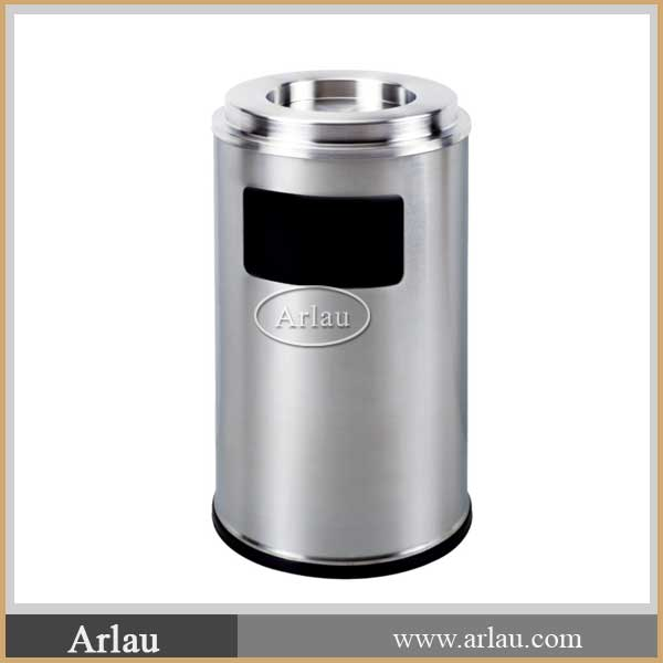 Round Indoor Stainless Steel Trash Bin Ashtray recycle bin
