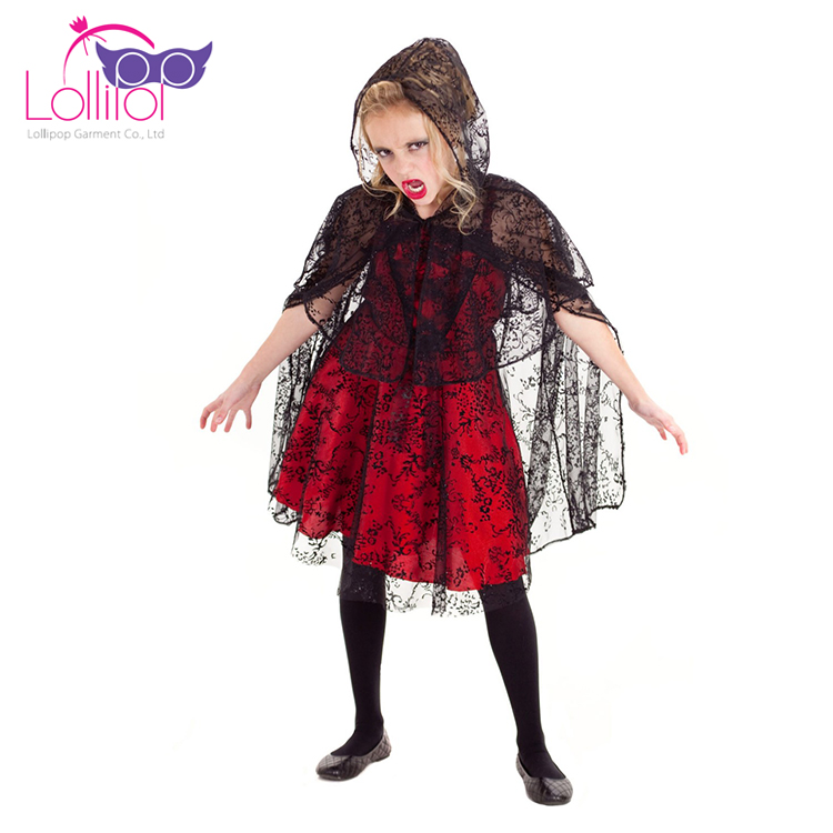 China factory customized girls vampires dress halloween kids dress up costumes 2017 with headband and wings