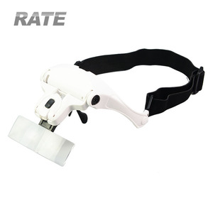 Headband 2 LED Magnifier 1x 1.5x 2x 2.5x 3.5x Lens Interchangeable Head Eye Magnifying Glasses Loupe With Lamp