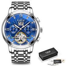 Мужские автоматические механические часы LIGE, роскошные модные спортивные часы из нержавеющей стали с турбийоном, мужские часы(Китай)