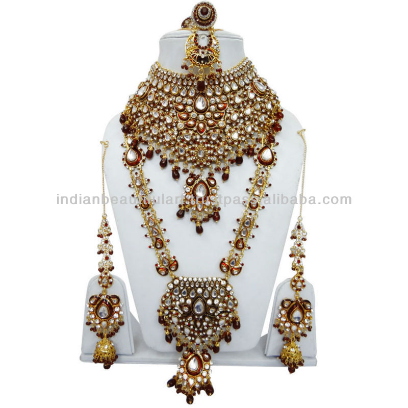 TRADITIONAL MAROON CZ BRIDAL WEAR NECKLACE SET INDIAN GOLD TONE WEDDING JEWELRY