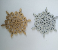 Colorful wooden snowflakes silver and gold snowflakes