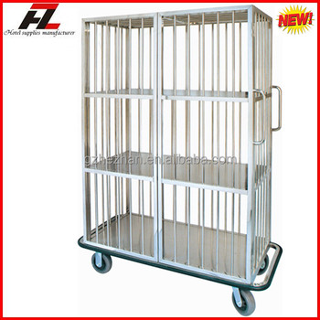 Fixed Shelf Stainless Steel Laundry Cart For Linen