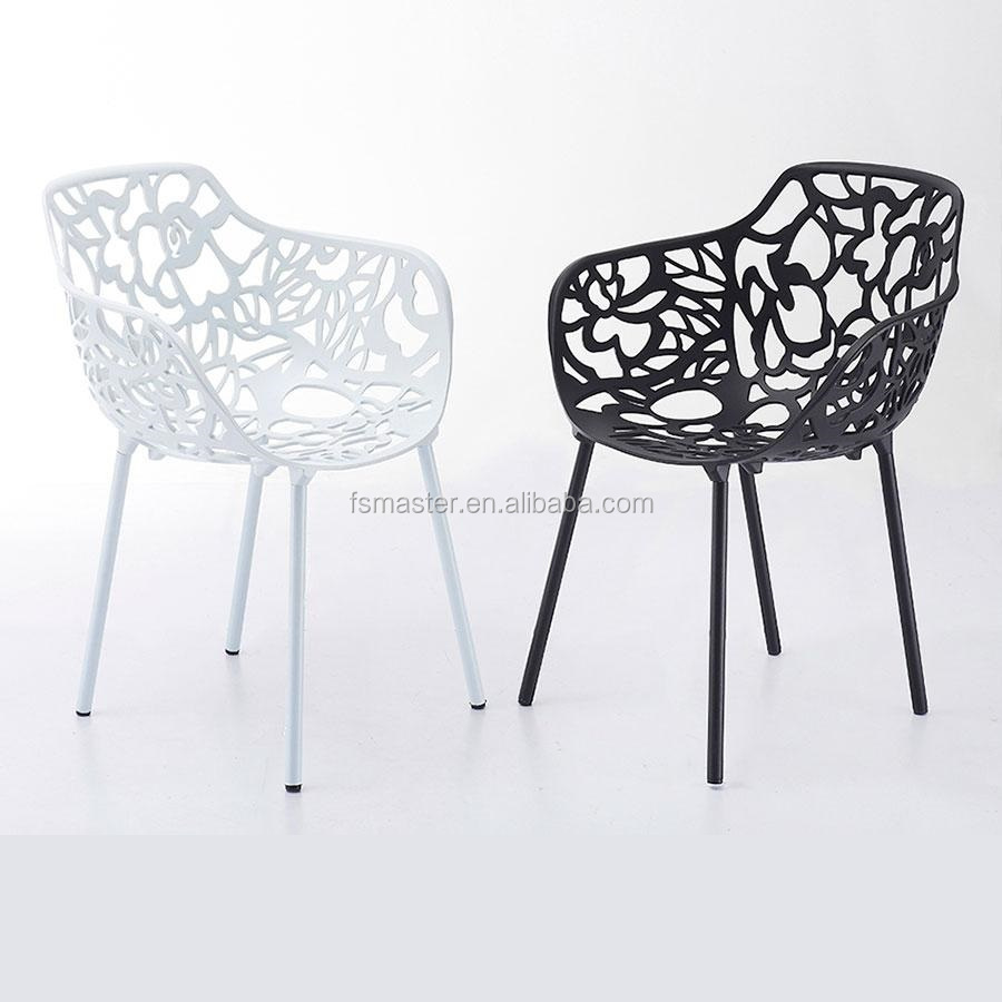 forest tree branch chair elegant aluminum floral hollow back dining chair