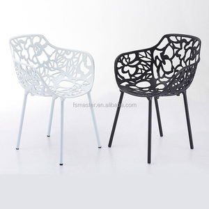 forest tree branch chair elegant aluminum hollow back metal dining chair