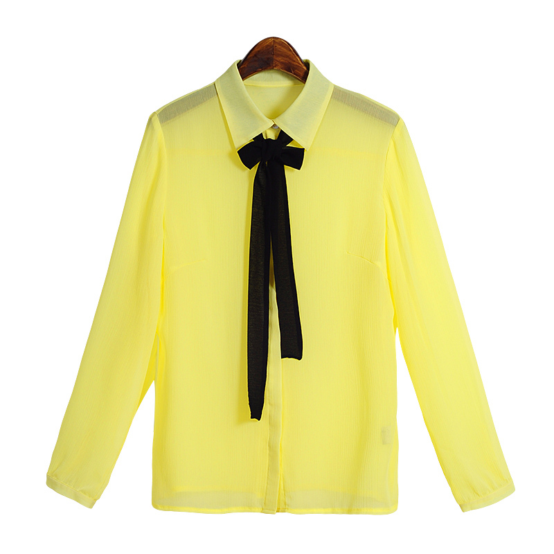 Yellow women blouses Summer Chiffon Fresh Fashion Wear Turn Down Collar Full Sleeve With Bow Shirts Regular Length Solid