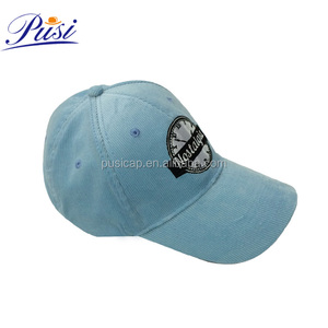 Wholesale Custom Embroidered Pattern Sky Blue Corduroy Baseball Cap