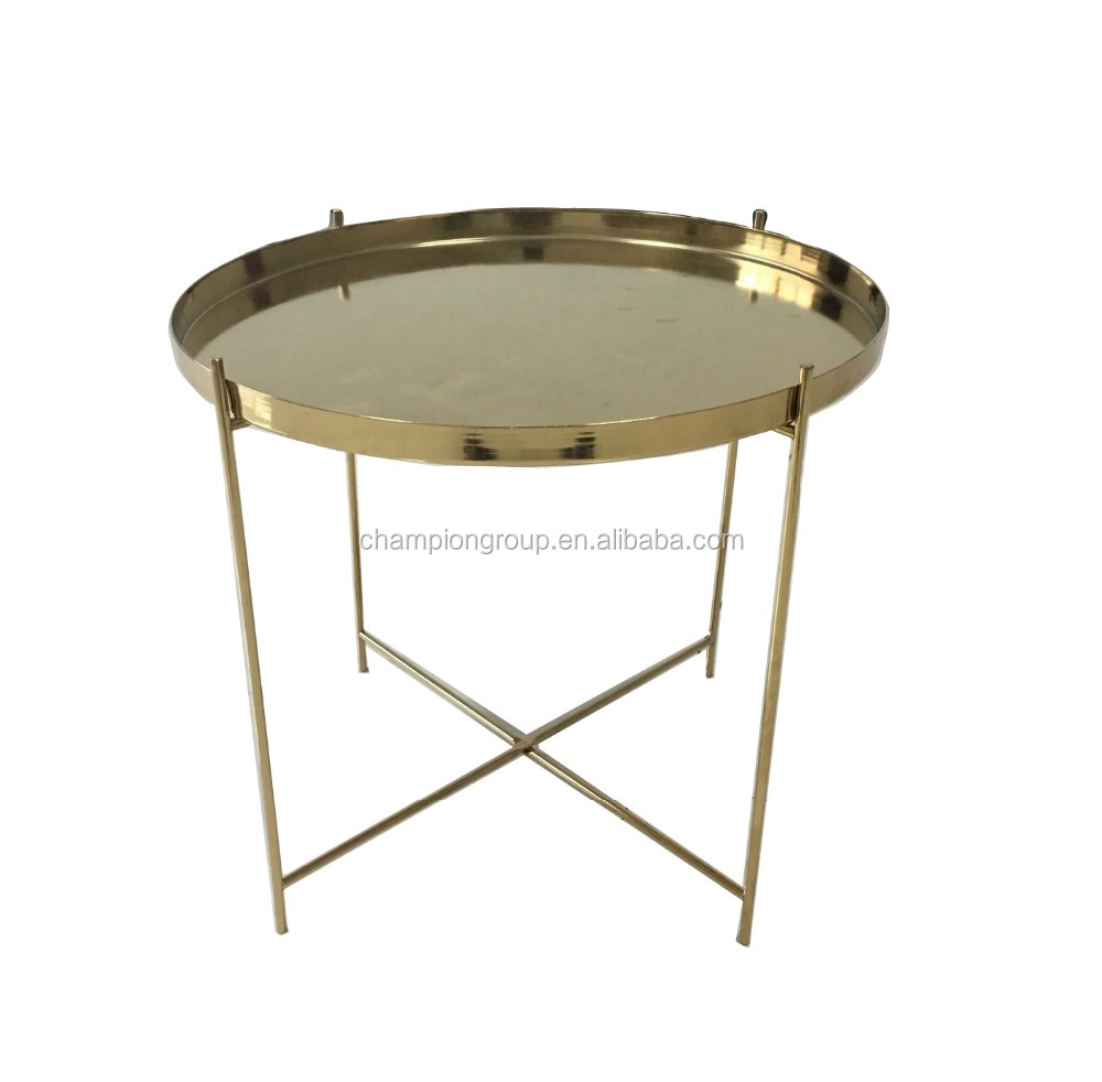 Coffee Table Tray Gold: Metal Gold Folding Coffee Tray Table. Cheap Gold Side
