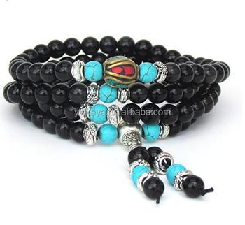 Tibetan Meditation 108 Mala Beads Bracelet Necklace Obsidian Turquoise -  Prayer Yoga Mantras - Buy 108 Mala Beads,Obsidian Mala Beads,Tibetan  Necklace