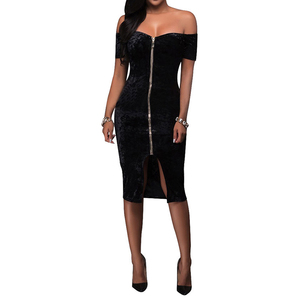 Fashion Hot Selling Direct Home Black Pull Bag Hip Skirt Bodycon Dress