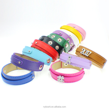 China direct factory price red 18mm-8mm leather bracelet,fit 8mm slide charms bracelet wholesale