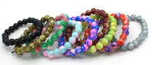 Free Shipping 2015 New Classic Women Jewelry Fashion Wild 8 MM Imitation Agate Bracelet Glass Painting For Women sa170