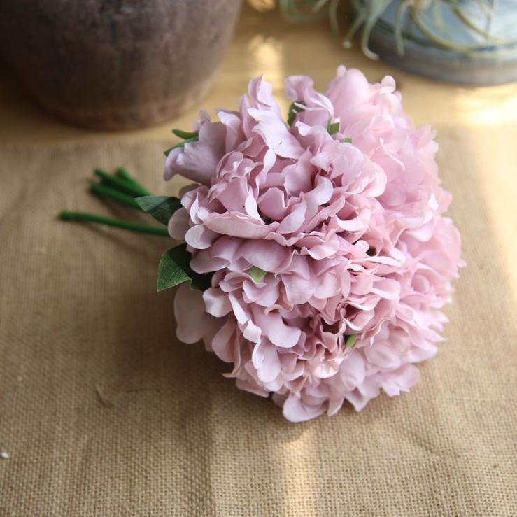 Großhandel custom real touch mini künstliche seide blume verpackung bouquet halter weiße pfingstrose braut hochzeit bouquet für braut