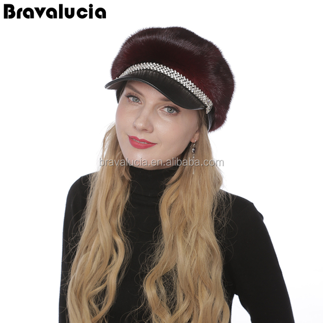 Wholesale fashion natural Knitting Cap Female Fur mink knitted hat 059bb2515a21