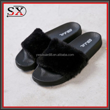 (Stock)China wholesale slippers faux fur slide customized sandals