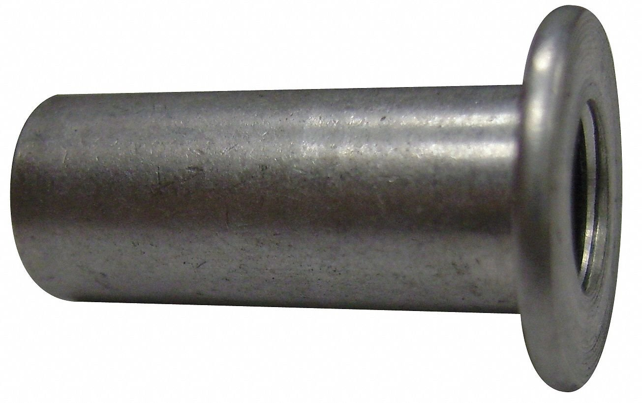 "Aluminum Flanged Rivet Nut 0.531"" L, 10-24 Dia./Thread Size, 100 PK"