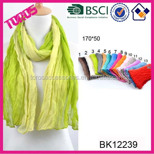 HIGH QUALITY WRINK HEABSCARF GREEN NEW TOTTY DEGRADE SCARF