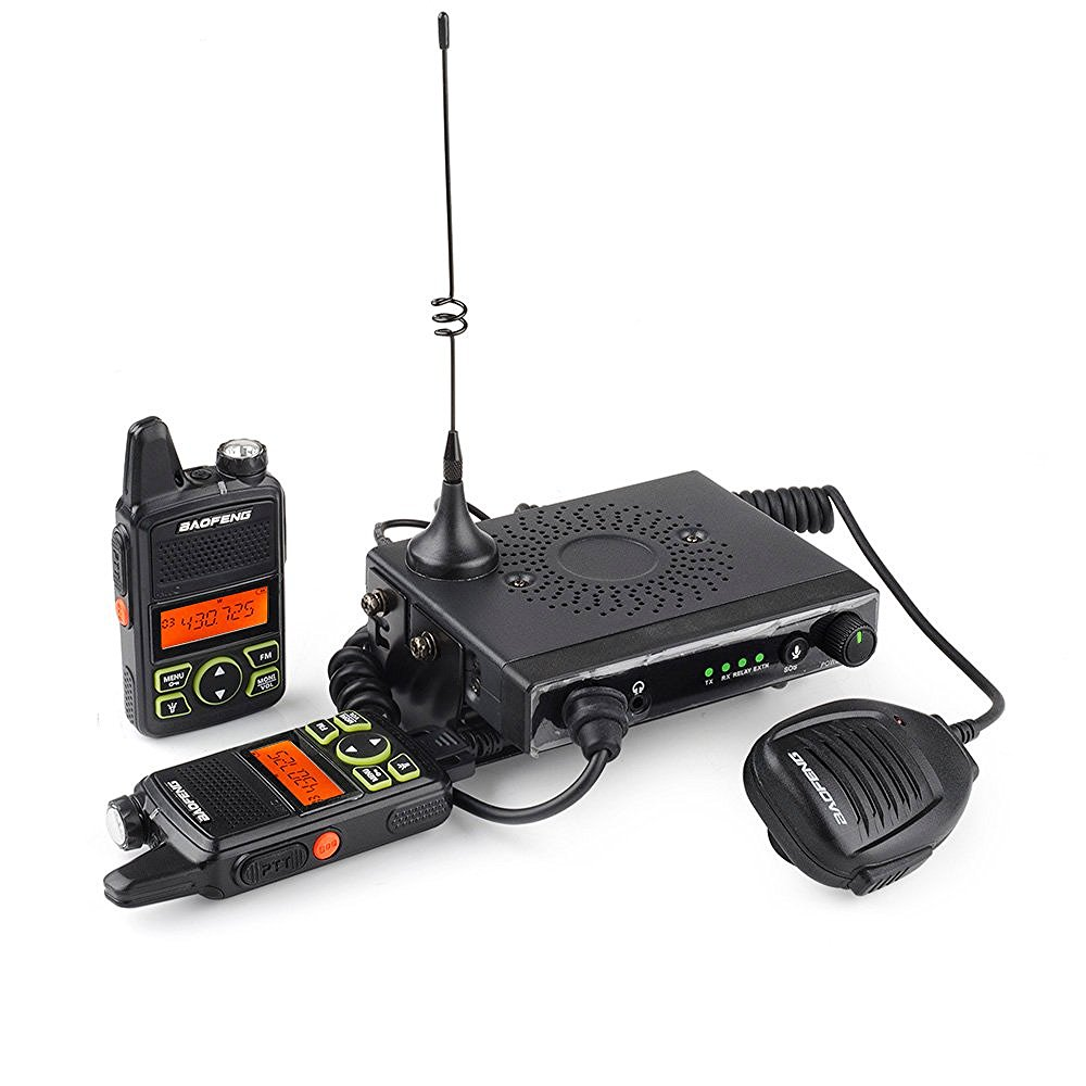 Baofeng - Mini 1 UHF 400-470MHz 15W Mobile Car Transceiver 20 Channels with 2 Mini Handheld Walkie Talkies