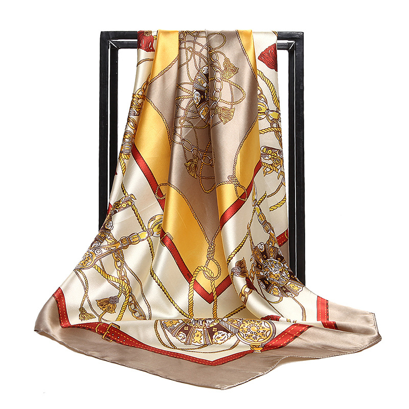 Factory custom 90X90 square100% polyester custom silk like cheap satin hair scarf for women stylish