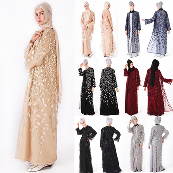 EID  black sequins embroidery muslim kimono 7 colors front open sexy mixi dress jubah open abaya in-stock
