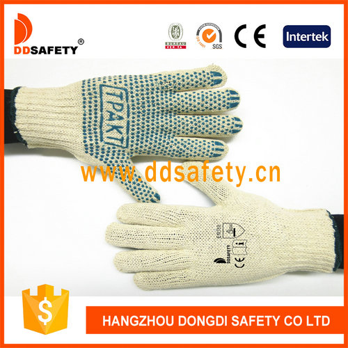 DDSAFETY Natural Cotton Polyester String Knitted Blue PVC Dots Safety Working Gloves