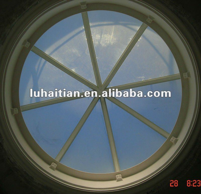 Upvc fixed arc round Skylight with security glass window grill design