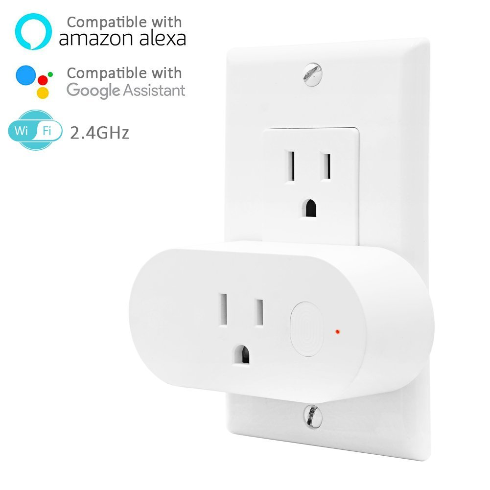 Smart Plug Outlet - FUNUSE 16A Mini Smart Socket with Energy Monitor - Compatible with Amazon Alexa Google Home,Voice Controlled,WiFi Remote Controlled,No Hub,Required for Android / IOS - 1 Pack