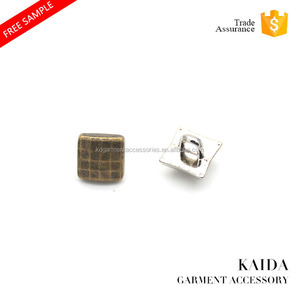 KAIDA exquisite small size plating bronze square metal shirt button for jacket